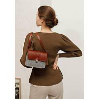 Фетровая женская бохо-сумка Лилу с кожаными коричневыми вставками, фото 1