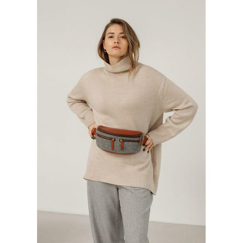 Фетровая женская поясная сумка Spirit с кожаными коричневыми вставками