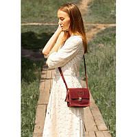 Кожаная женская бохо-сумка Лилу бордовая Crazy Horse, фото 1