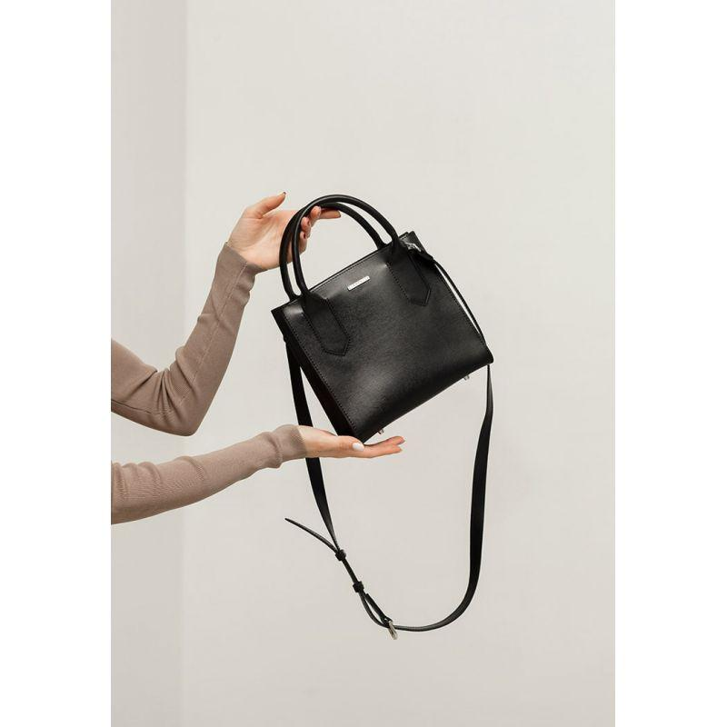 Кожаная женская сумка-кроссбоди черная Blackwood