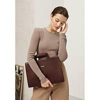 Женская кожаная сумка для ноутбука и документов бордовая, фото 1