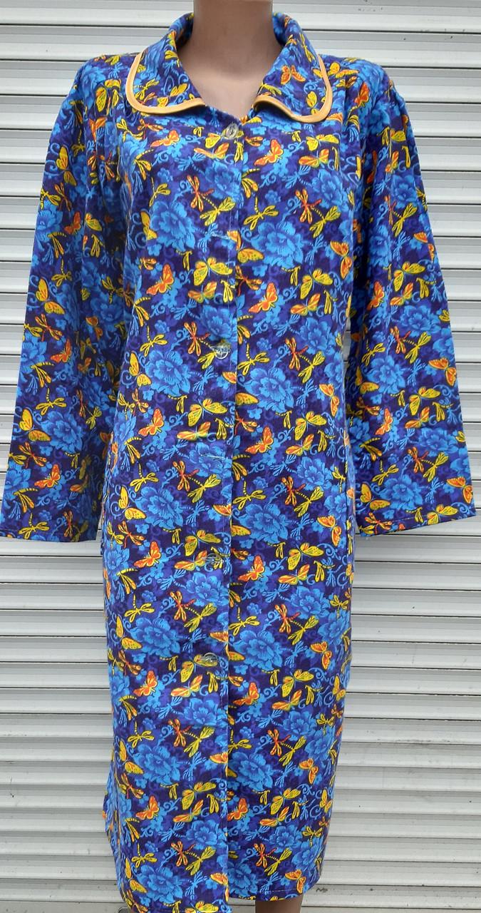Теплый фланелевый халат 52 размер Бабочки