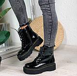 Женские ботинки ДЕМИ черные на шнуровке эко лак, фото 5