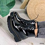 Женские ботинки ДЕМИ черные на шнуровке эко лак, фото 8