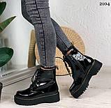 Женские ботинки ДЕМИ черные на шнуровке эко лак, фото 6