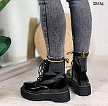 Женские ботинки ДЕМИ черные на шнуровке эко лак, фото 7