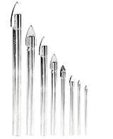 """Набор сверл """"пика"""" для стекла и плитки 8 шт (4*60, 5*65, 2шт 6*68, 2шт 8*70, 10*85, 12*90мм) GRANITE 2-01-008"""