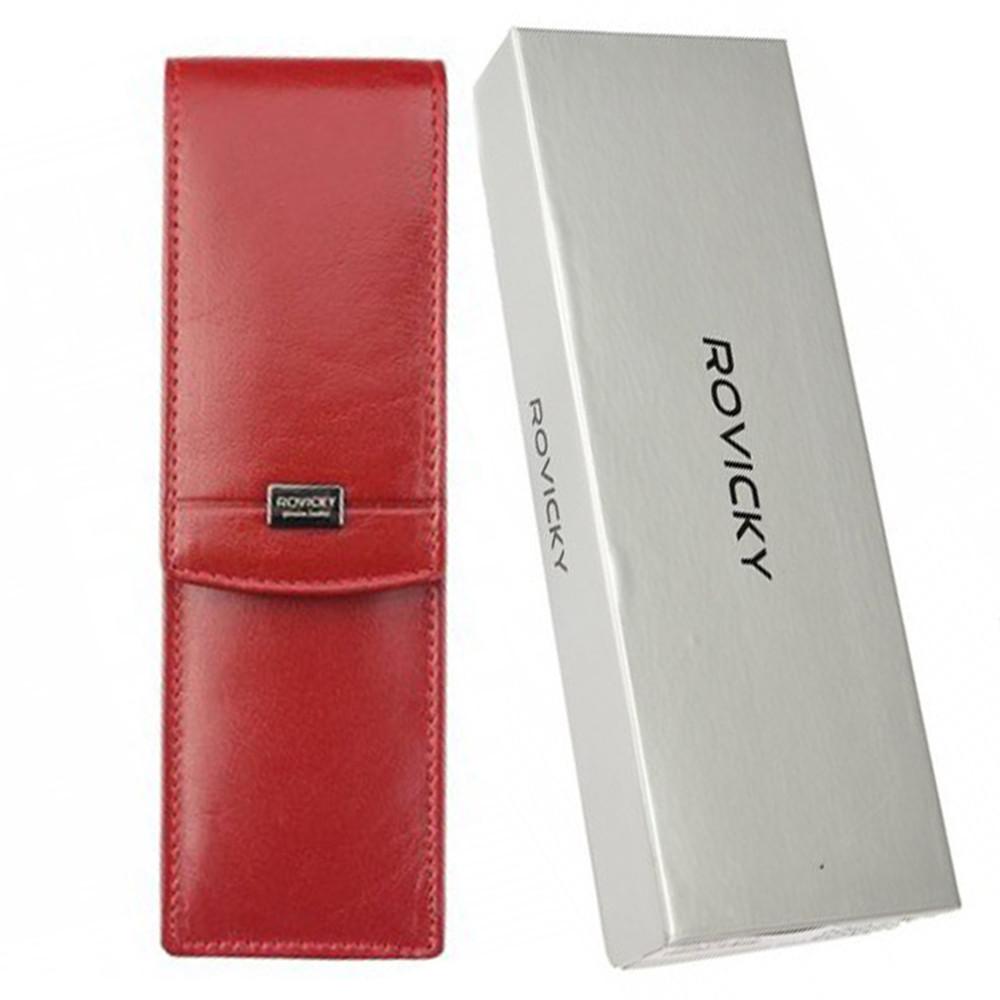 Футляр для ручек кожаный красный Rovicky CPR-042 red
