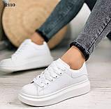 Только 38 р! Стильные женские кроссовки белые эко-кожа весна / осень, фото 2