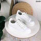Только 38 р! Стильные женские кроссовки белые эко-кожа весна / осень, фото 4