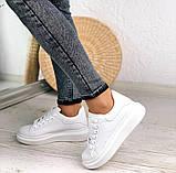 Только 38 р! Стильные женские кроссовки белые эко-кожа весна / осень, фото 6