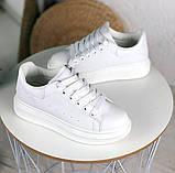 Только 38 р! Стильные женские кроссовки белые эко-кожа весна / осень, фото 5