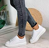 Только 38 р! Стильные женские кроссовки белые эко-кожа весна / осень, фото 7