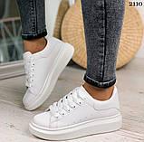Только 38 р! Стильные женские кроссовки белые эко-кожа весна / осень, фото 10