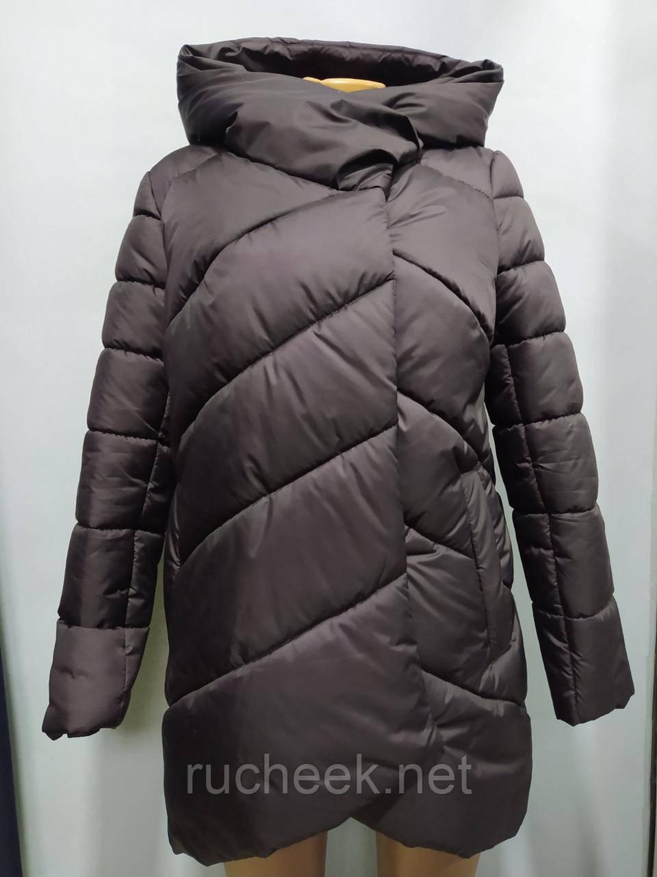 Зимняя куртка женская размер 46-48 цвет шоколад. Mangelo модель 221