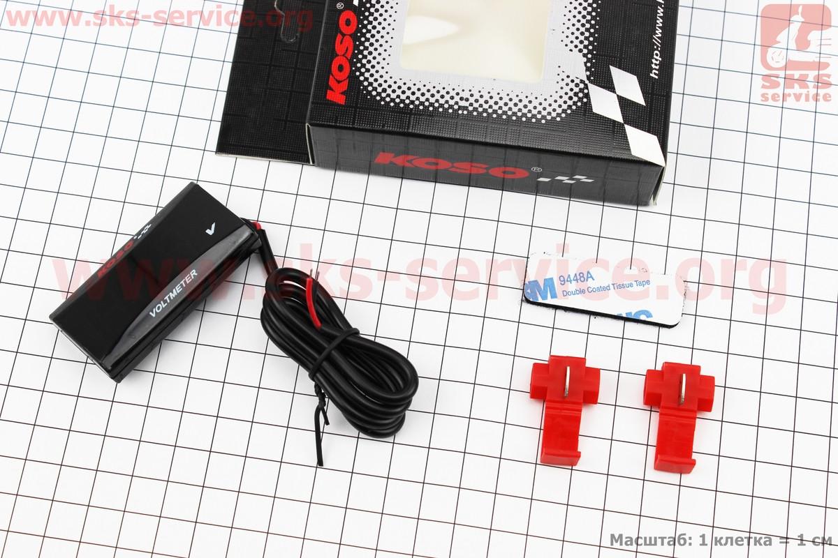 ВОЛЬТМЕТР з дисплеєм, червоний циферблат (універсальний, компактний) на мопед Delta