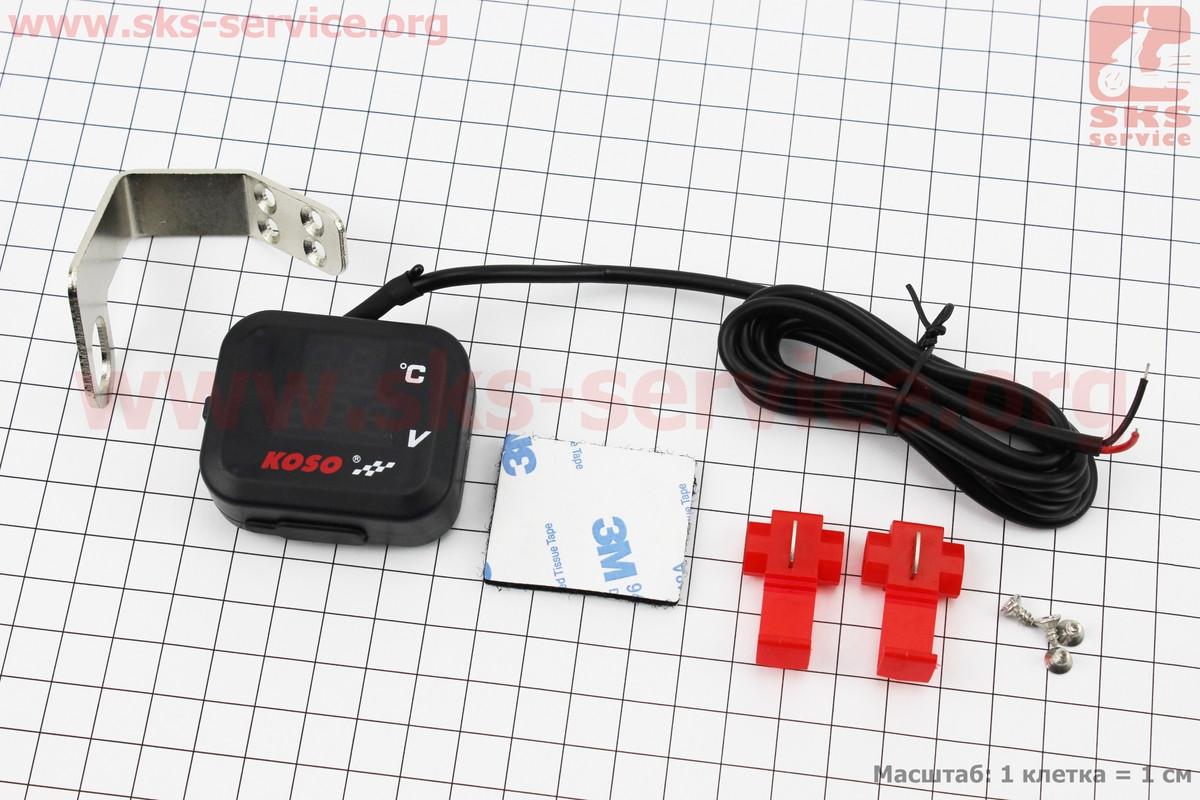 ВОЛЬТМЕТР с дисплеем, красный циферблат + датчик температуры воздуха + крепление (универсальный, компактный)