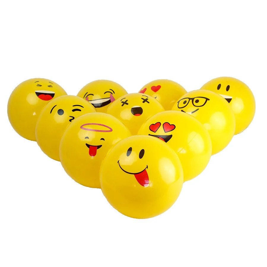 М'яч  дитячий смайлик  жовтий  3 види 50 г  у сітці BT-PB-0111