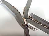 Молния металлическая перекидная 80см длина, 1 бегунок. Цвет основы серый, цвет звена золото, фото 2