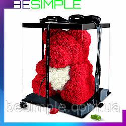 Мишка из роз 40 см в подарочной упаковке, Мишка из цветов