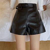Женские кожаные шорты со швами, фото 1