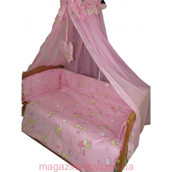 """Акция! Постельный комплект в кроватку 3 ед. """"Мишки маленькие"""" розовое Standart"""