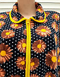 Халат велюровый большого размера Коричневые цветы с горошком, фото 5