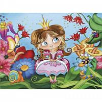Картина раскраска на холсте Принцеса у казковому лісі 25х30см Идейка 7121/2 набор для росписи, краски, кисти,