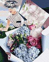 Картина по номерам Origami Букет для ретро леди 40x50. На холсте с подрамником