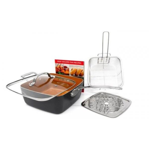Сковорідка-фритюрниця квадратна з кришкою TOP KITCHEN BN-8001