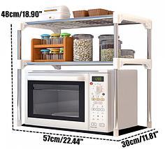 Настольный кухонный стеллаж под микроволновку с полками для посуды специй, Этажерка для микроволновки 2 яруса, фото 3