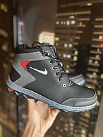 Подростковые ботинки на меху черные Nike