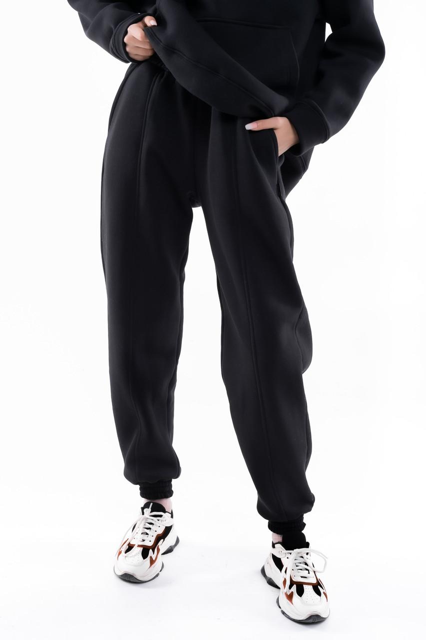 Штаны женские джогеры теплые на флисе зимние спортивные Basic Intruder черные Oversize брюки осенние весенние