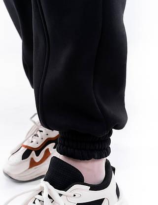 Штаны женские джогеры теплые на флисе зимние спортивные Basic Intruder черные Oversize брюки осенние весенние, фото 3