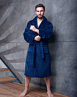 Халат мужской махровый без капюшона Темно-Синий