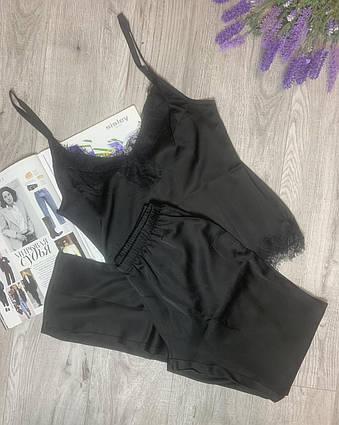 Пижама из шелка Армани с кружевом, комплект майка и штаны TyT