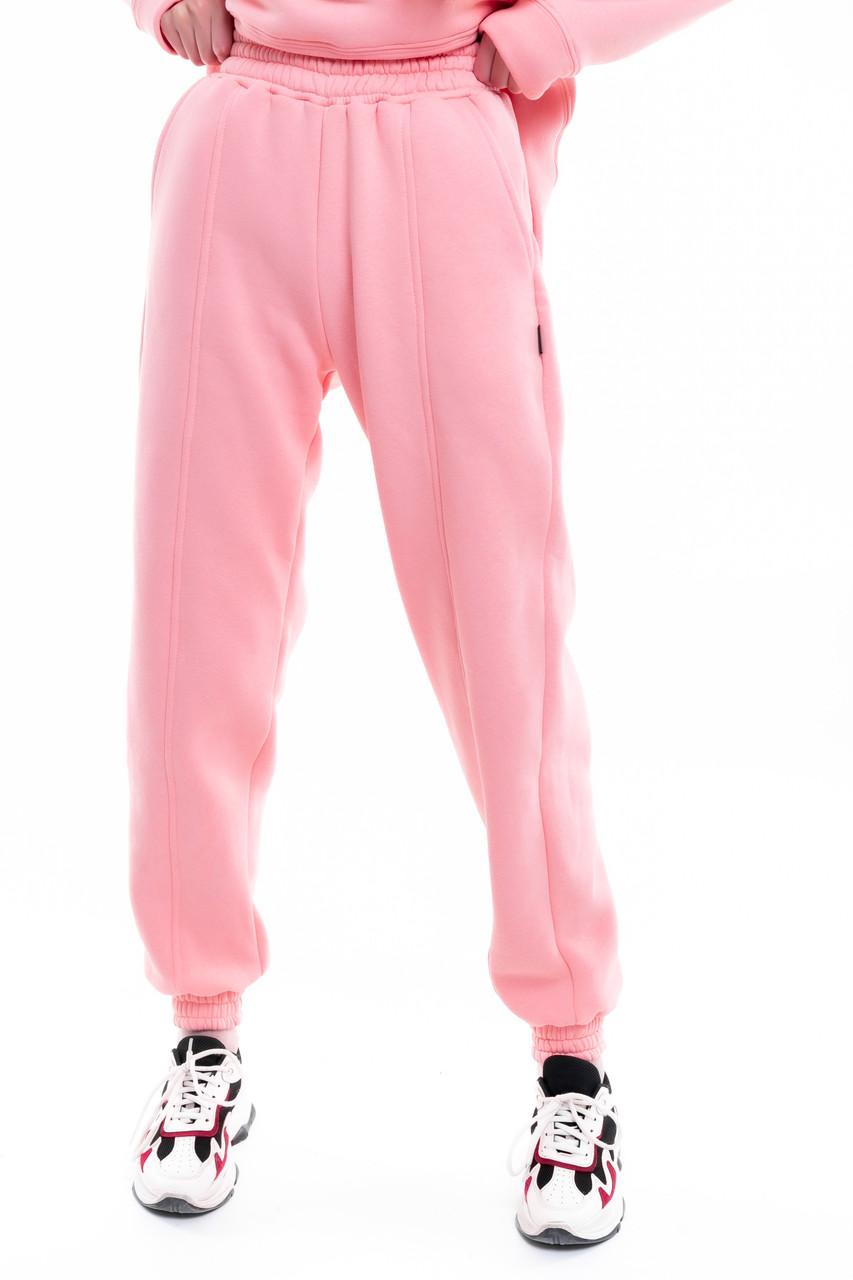Штаны женские джогеры теплые на флисе зимние спортивные Basic Intruder розовые Oversize осенние весенние