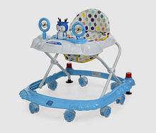 Ходунки арт  3168 Bambi  олень,стопор,муз,свет,колеса 7 шт 6 см цвета. голубые с белым