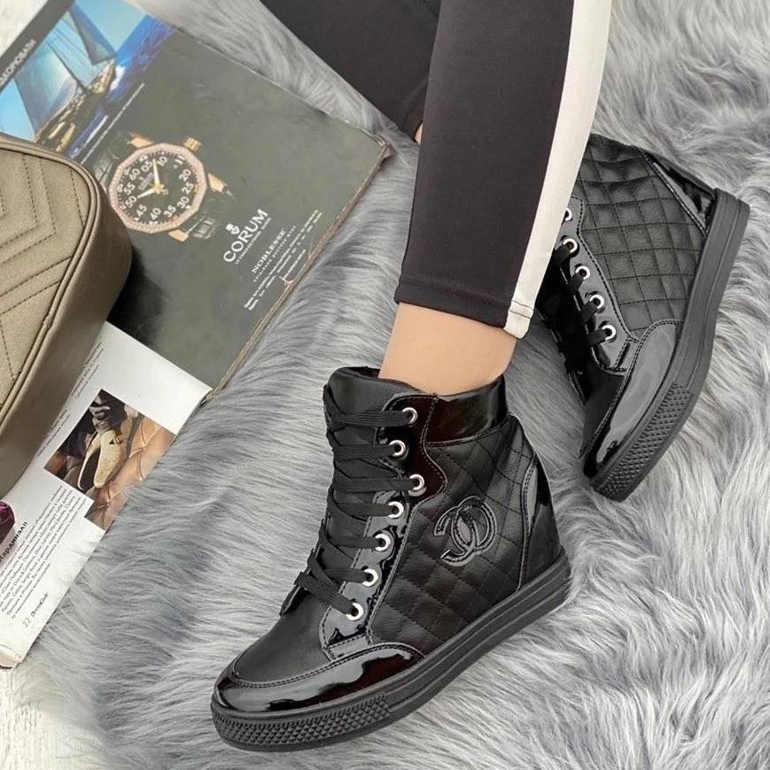 Кросівки жіночі снікерси чорного кольору (1529501).