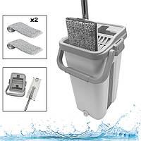 Комплект швабра с ведром с автоматическим отжимом Чудо швабра лентяйка для уборки Scratch Easy Mop Белый