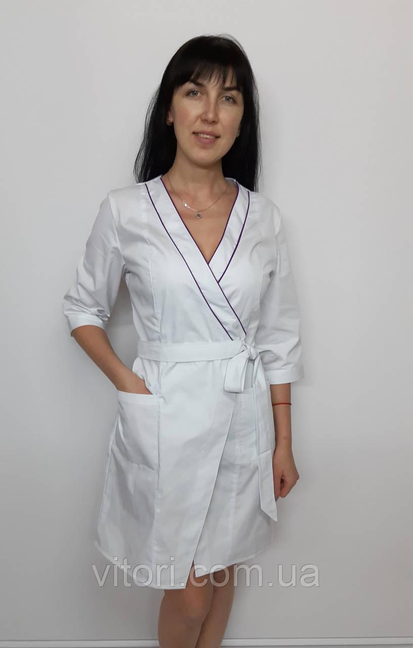 Женский медицинский халат Бэль хлопок три четверти рукав