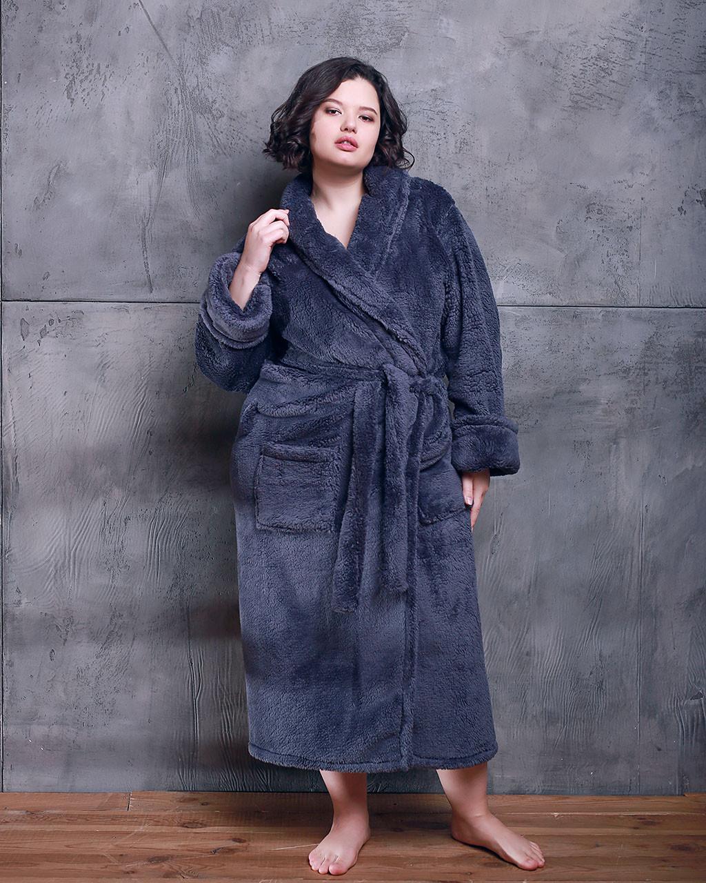 Халат жіночий махровий довгий Батал без капюшона Графіт