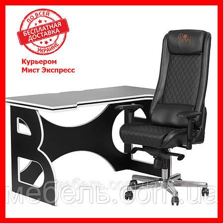 Компьютерный стол со стулом Barsky HG-06/GB-01 Homework Game Black/White,  геймерская станция, фото 2