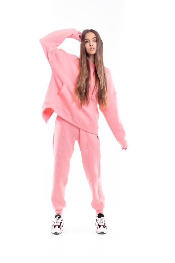 Костюм женский спортивный зимний на флисе Basic Oversize розовый осенний весенний, фото 2