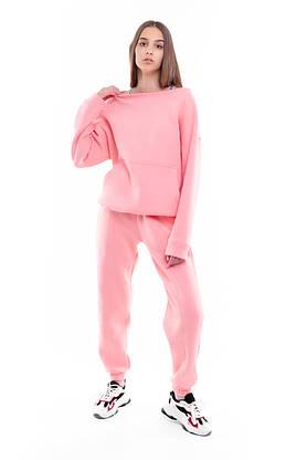 Костюм женский спортивный зимний на флисе Basic Oversize розовый осенний весенний, фото 3