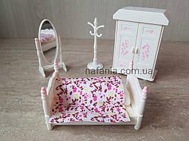 Біла спальня з ліжком (аналог Sylvanian Families), для ЛОЛ