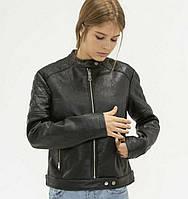 Куртка чёрная из кожзама XS