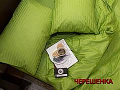 Полуторный набор постельного белья 150*220 из Страйп Сатина №50999 Черешенка™