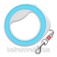 Поводок-рулетка круглая WAUDOG, размер XS-M, до 40 кг, 2,9 м, голубая