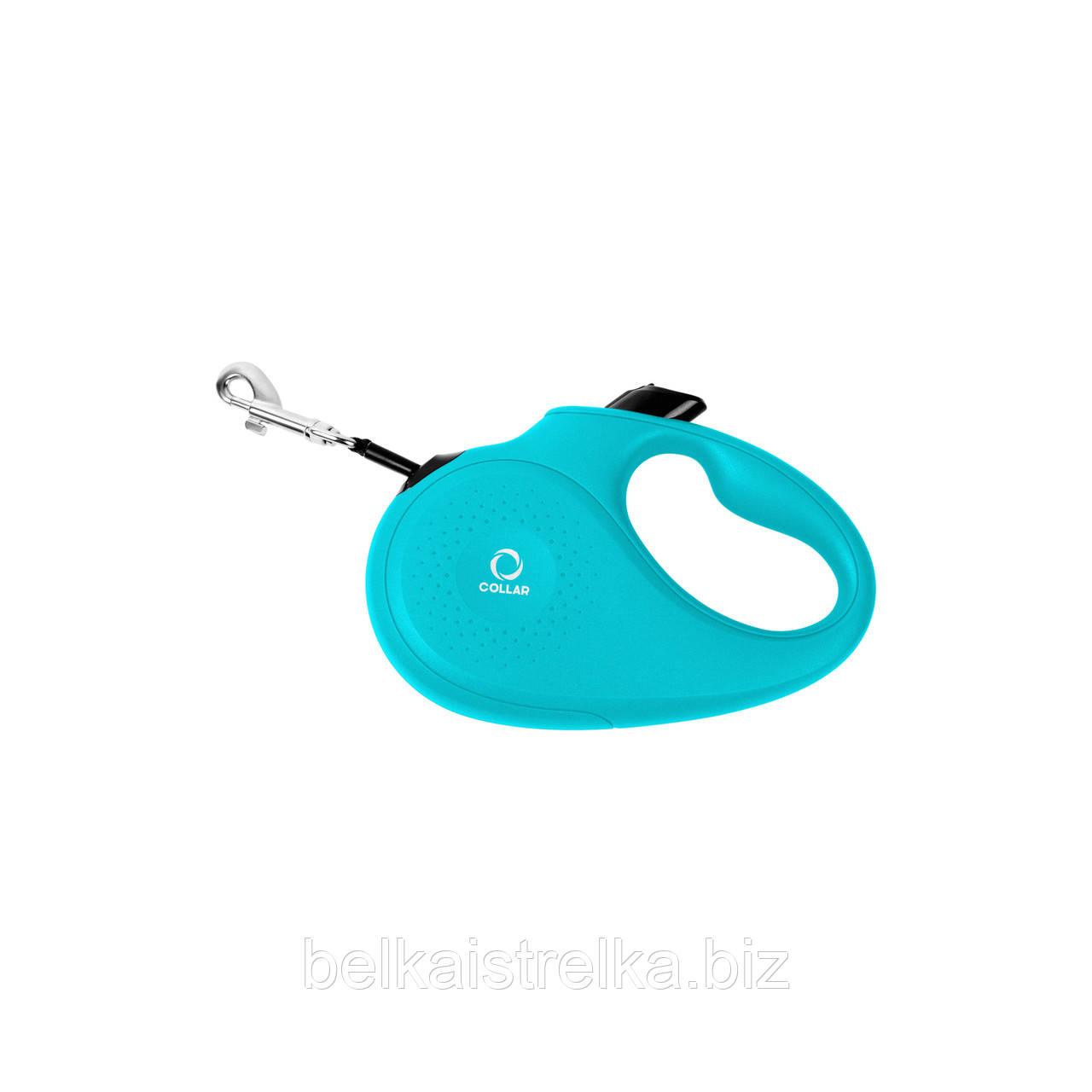 Поводок-рулетка COLLAR S для собак до 15 кг, лента, голубая